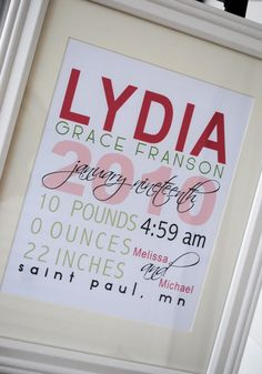 "Personalized Baby Stats ""The Lydia"""