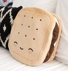 S'mores Pillow Warmer - Always Room for S'mores. Make these your new warming pillow companions. so adorable. looking at this site makes me want to redo my room with lolita/kawaii EVERYWHERE! Food Pillows, Cute Pillows, Diy Pillows, Cushions, Sewing Pillows, Pillow Ideas, Decorative Pillows, My New Room, My Room