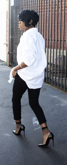 Black and Oversized White Shirt More