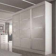 Guarda Roupa 3 portas de correr Eros Branco/Branco/Preto - Móveis Europa R$1303.61