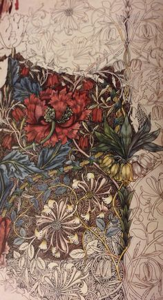 Original watercolour design for honeysuckle printed fabric, designed by William Morris in Birmingham Museum and Art Gallery. William Morris Patterns, William Morris Art, Textiles, Design Art Nouveau, Birmingham Museum, Design Poster, Watercolor Design, Arts And Crafts Movement, Floral Illustrations