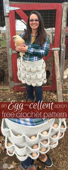 An Egg-cellent Apron: Free Crochet Pattern http://hearthookhome.com/an-egg-cellent-apron-free-egg-gathering-apron-crochet-pattern/?utm_campaign=coschedule