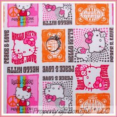BonEful FABRIC Cotton Quilt Pink White Circus Hello Kitty Peace Heart Dot SCRAP #Unbranded