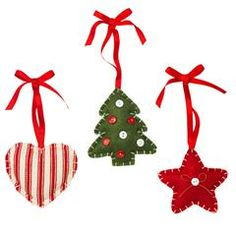 "Vintage-Inspired Ornament Set of 3 Cotton and polyester. 3"" h. $9.99"
