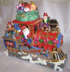 Christopher Radko North Pole Express Cookie Jar Train Christmas Center Piece