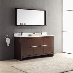 "Fresca Allier 60"" Wenge Brown Modern Double Sink Bathroom Vanity w/ Mirror"