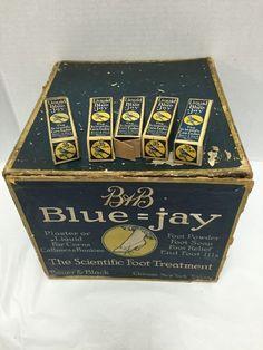 Vintage 3 Drawer Display Cabinet Bauer & Black Blue Jay Foot Treatment Pharmacy #BauerBlackBlueJay