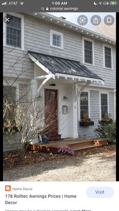 Metal Door Awning, Front Door Overhang, Front Door Awning, Front Door Canopy, Porch Awning, Front Door Entrance, Porch Roof, Porch Wall, Front Entry