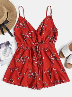 2cb260fed7c Floral Ruffles Cami Romper. With allover pretty tiny floral pattern