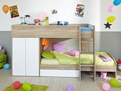 Etagenbett Bett 90x200 cm eiche weiß Hochbett Jugendbett Kinderbett Stian
