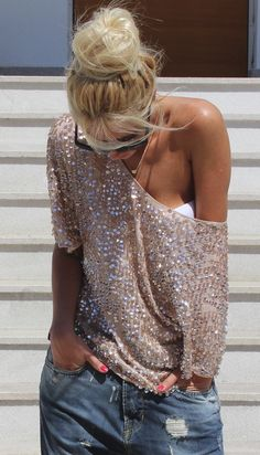 sequined blouse / zara
