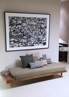 Banquette Design Bi Gris - Kann Design - The Cool Republic Wooden Sofa Designs, Home Room Design, Pink Living Room, Indian Home Decor, Home Decor, Home Entrance Decor, Room Decor, Drawing Room Decor, Home Decor Furniture