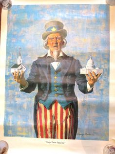 Liberty 1963 Uncle Sam Keep Them Separate 18 x 24 Political Poster Anderson | eBay #Liberty #Magazine #UncleSam #Poster #Political #KeepThemSeparate #ChurchandState