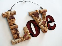 Wine Cork Love Hanging Sign. $30.00, via Etsy.