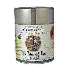 Genmaicha from The Tao of Tea. The fresh vegetal flavor of the green tea is carefully balanced with the toasted, nutty flavor of the rice. Green tea is known to contain high amounts of anti-oxidants that promote a healthy lifestyle. Low in caffeine.