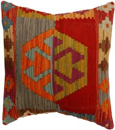 Handmade kilim cushion cover 48x48cm,P #326 by WitcheryRugs on Etsy