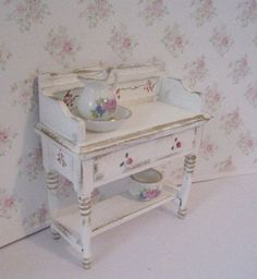Shabby Chic Small Bathrooms   Shabby Chic washstand, with accessories , distressed white with rose ...