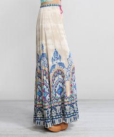 Look at this #zulilyfind! Kokette Taupe & Blue Arabesque Maxi Skirt by Kokette #zulilyfinds