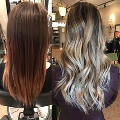 From dark brown to beautiful blonde balayage
