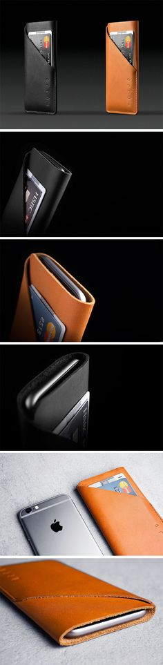 Binding together the two most important things you place in your pockets, theMujjo Wallet Sleeveholds your phone as well as your cards/cash in a svelte, luxurious little leather case. Entirely hand-made from a single piece of leather, stitched together and stamped with the Mujjo insignia, these full-grain leather sleeves come made to your phone's size specifications. BUY NOW!