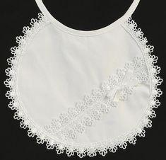 Cotton Lace Christening Bib - Girl