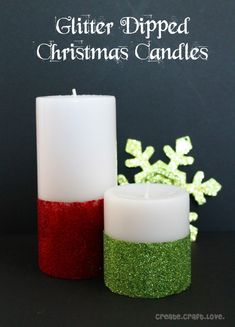 Make your own Glitter Dipped Christmas Candles with a little Mod Podge and glitter!