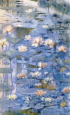 ❀ Blooming Brushwork ❀ - garden and still life flower paintings - Slava Raskaj | Waterlilies, 1890