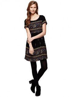 Dámske šaty s krátkym rukávom YUMI - čierna/ farebná