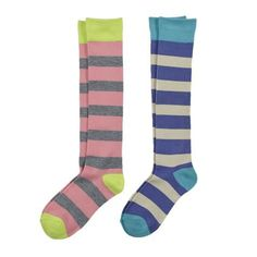 La De Da Girls 2 Pack Knee High Stripe Sock La De Da Girls 2-Pack Ribbed Leg Striped Knee High. Fun addition to any wardrobe! What's not to love? Super comfy ribbed leg knee high in fun colors to go with any girl's wardrobe