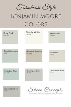 Ways To Add Farmhouse Style To Your Home Farmhouse Style inspired paint colors from Benjamin Moore. How to add Farmhouse Style to your home. Farmhouse Style inspired paint colors from Benjamin Moore. How to add Farmhouse Style to your home. Interior Paint Colors, Paint Colors For Home, Basement Paint Colors, Small Bedroom Paint Colors, Fixer Upper Paint Colors, Paint Colors For Living Room, Colors For Bathrooms, Lowes Paint Colors, Entryway Paint Colors