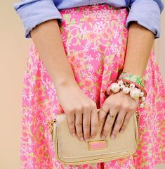 Love this skirt and the gold clutch!