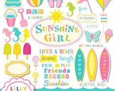 50 % Rabatt Strand surfen Clipart Satz 42 Elemente kommerziellen und persönlichen Gebrauch Surfen Sunshine Girl INSTANT DOWNLOAD
