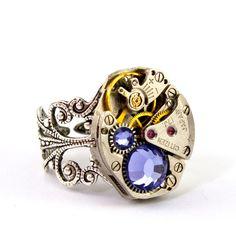 Steampunk Ring - Gorgeous Vintage Clockwork ring design & Purple Tanzanite Swarovski Crystals, Steampunk Jewellery ...