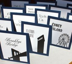 Use places that have special meaning to the bride an… Personalised table numbers. Use places that have special meaning to the bride and groom. Wedding News, New York Wedding, Our Wedding, Wedding Band, New York Party, Wedding Table Names, Tent Wedding, Rooftop Wedding, Wedding Dresses