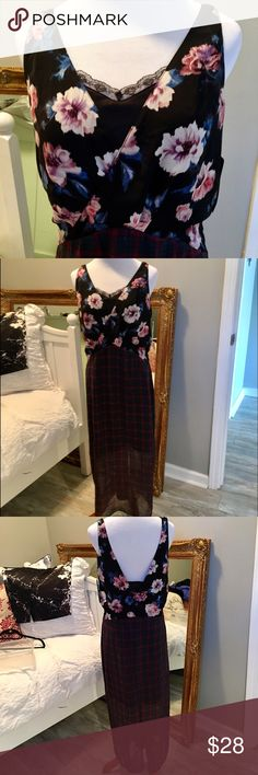 Zara Trafaluc mixed floral-Plaid Maxi New WTags Size M. Perfect condition. Slinky black chiffon with 1/2 length lace detail black removable slip. So Versatile and adorable!!!! Zara Dresses Maxi