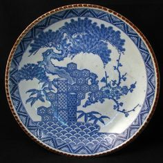 Japanese Transferware Igeza Porcelain Charger with three winter friends designra.. circa 1900
