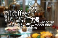 #Coffee cake shop cafe window wall stickers #vinyl sign decal business #decor…