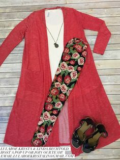 LuLaRoe Outfit Red Pinstrip Sarah Duster Cardigan and Disney Rose Leggings. LuLaRoe Style. Flat Lay Photo. Spring Style.