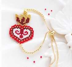 Bead Embroidery Jewelry, Beaded Embroidery, Beaded Jewelry, Brick Stitch, Heart Jewelry, Bead Weaving, Perler Beads, Beading Patterns, Seed Beads