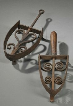 Two Wrought Iron Sadiron Trivets, America or England, 18th-early 19th century.