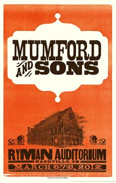 More goodness from Hatch Show Print in Nashville, this time featuring Mumford and Sons. #poster #music #design