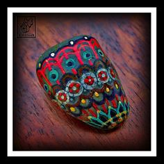 "⇢#014 - ""Tapestry"" ⇢Hand Painted Rocks ⇢by Kit Clock"