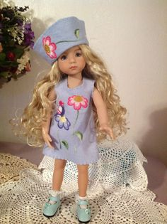 wool felt embroidered jumper and cloche hat for Dianna Effner little darling doll
