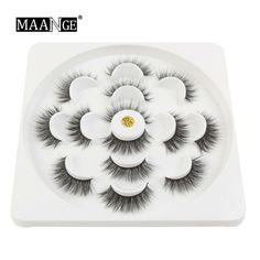 818abc59d24 5/7 Pairs 3D Mink Hair False Eyelashes Wispy Cross Long Lashes Makeup Soft  Hair