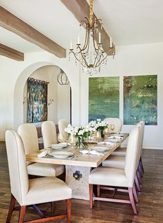 French styled Dining Room - art work for color and interest