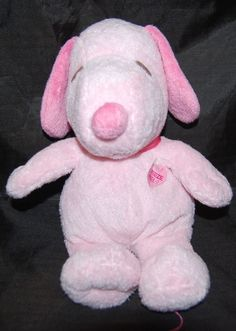 Ty Pluffies Pink Snoopy Sound Peanuts Theme Song Baby Plush Lovey 11