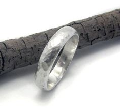 14k White gold men wedding ring - 4mm wide hammered band. $450.00, via Etsy.