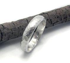 14k White gold men wedding ring - 4mm wide hammered band. $450.00, via Etsy.