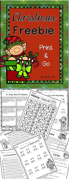 Christmas Freebie--Identifying Verbs, End Punctuation, Contractions, Missing Addends, Comparing Numbers, Addition and Subtraction with Regrouping, and 2-Step Word Problems