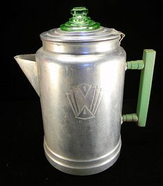 Aluminum coffee pot. Love the greens!